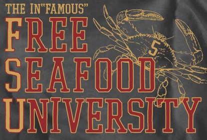 The InFAMOUS Free Seafood University shirt