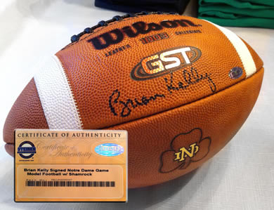 Brian Kelly autographed Notre Dame Game Model Football