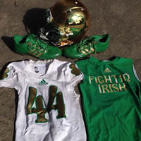 Carlo Calabrese #44 Game Worn Notre Dame 2013 Shamrock Series Game Uniform Set
