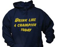 Drink Like A Champion Today Navy/Gold Hood