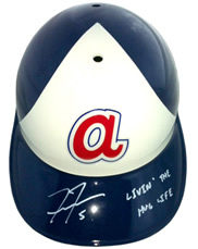 Freddie Freeman signed Throwback Rawlings helmet with Livin' the Hug Life inscription Atlanta Braves