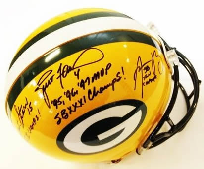 a836c8c37 Brett Favre Aaron Rodgers Bart Starr Autographed Signed Authentic Green Bay  Packers Helmet