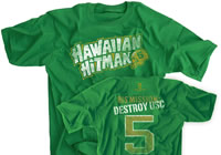 Hawaiian Hitman 5 His Mission: Destroy USC irish green shirt