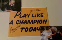 Paul Hornung and Johnny Lattner autographed Play Like A Champion Today sign