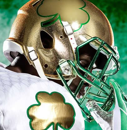 Notre Dame Fighting Irish 2013 Shamrock Series HydroFX Revolution Speed Authentic Full Size Helmet NEW GOLD
