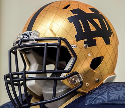 Notre Dame Fighting Irish 2014 Shamrock Series HydroFX Revolution Speed Mini Helmet Interlocking ND