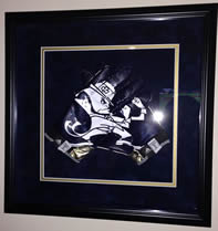 Notre Dame Game Used Blue Leprechaun Framed Football Gloves width=