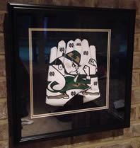 Notre Dame Adidas Football Leprechaun Framed Gloves