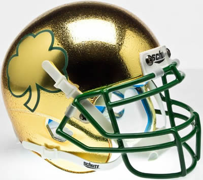 Notre Dame Fighting Irish 2013 Shamrock Series Schutt Mini Helmet Textured NEW GOLD