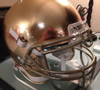 Notre Dame Fighting 2013 Full Size Authentic Schutt On Field Helmet with Metallic Gold Facemask