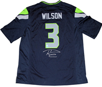 RUSSELL WILSON AUTOGRAPHED SEATTLE SEAHAWKS AUTHENTIC BLUE JERSEY(RUSSELL WILSON HOLOGRAM ONLY)