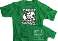 Hey Michigan Who's Chicken Now? Irish Green Rivalry Score Shirt